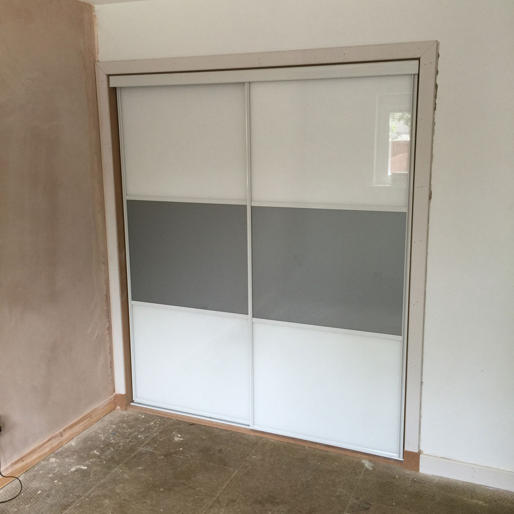2 door grey and white sliding door system