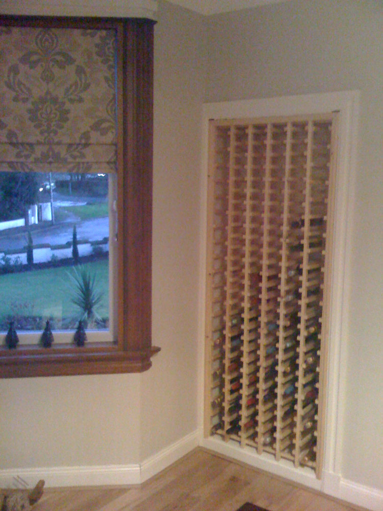 Wine rack in alcove