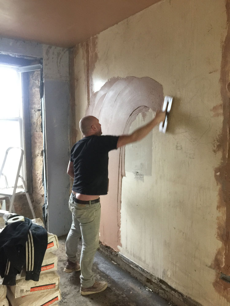 Plaster skim going on